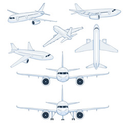Vector Set of Cartoon White Planes. Civil Aviation Aircrafts.