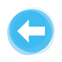 Weißer Pfeil nach links auf hellblauem Button