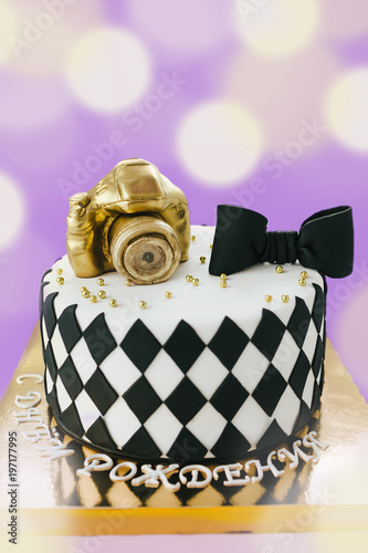 Black And White Birthday Cake For Photographer On Violet Background With Russion Inscription Happy