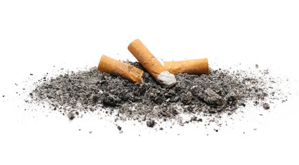 Cigarette butts, stubs and ash pile isolated on white background