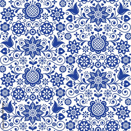 Floral Seamless Folk Art Vector Pattern Scandinavian Navy Blue