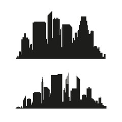 Vector city silhouette in a flat style. Modern urban landscape.vector illustration