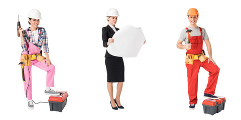 Collage with construction and repair professions workers isolated on white