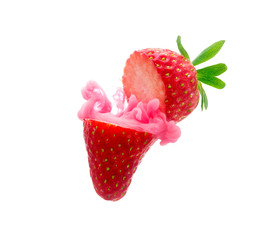 Strawberry on ink isolated over white background