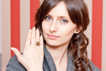 Beautiful woman portrait with jewelry