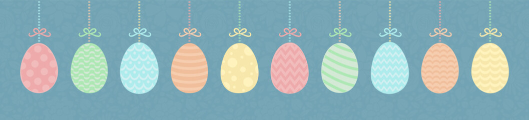 Panoramic header with decorative Easter eggs. Vector.