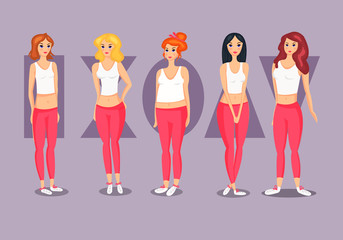 Set of Female Body Shape Types.