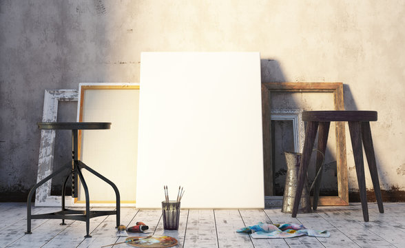 Early morning in artist's studio, mock up interior. 3d render
