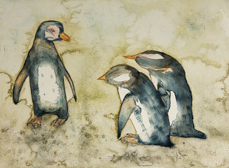 Mother penguin in a conversation with her babies. The dabbing technique near the edges gives a soft focus effect due to the altered surface roughness of the paper.