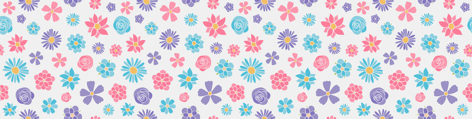 Vintage banner with hand dran flowers - seamless pattern. Vector.