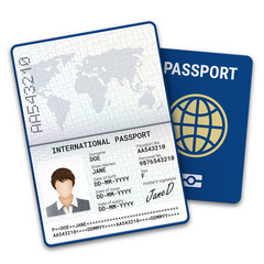 International female passport template with biometric data identification and sample of photo, signature and other personal data. Vector illustration