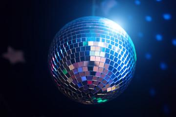 Sparkling disco ball. Concept of night party.