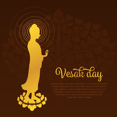 Vesak day with gold Buddha statue standing on lotus and Bodhi Tree background vector design