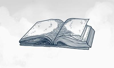 Hand Drawn Sketch of Holy Book Qur'an Ramadan Kareem with watercolor Background, Ramadan Kareem Background With Holy Book Qur'an and arabic Caligaphy hand drawn Sketch background vector illustration