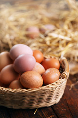 organic eggs in a basket