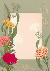 Vertical frame, template for invitation to rustic party. Carnation: red, pink, yellow flowers, fern, eucalyptus. Vintage background, hand draw, engraving sketch, botanical illustration, vector, A4