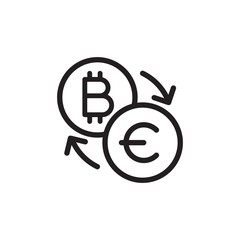 bitcoin euro exchange outlined vector icon. Modern simple isolated sign. Pixel perfect vector  illustration for logo, website, mobile app and other designs