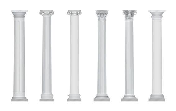 Realistic vector ancient greek rome column capitals set.