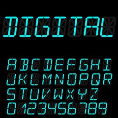 digital font signs made up from sixteen segments on dark background. Retro alphabet
