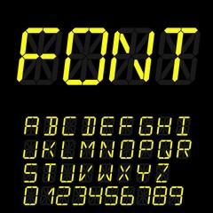digital font signs made up from sixteen segments on dark background. Retro alphabet