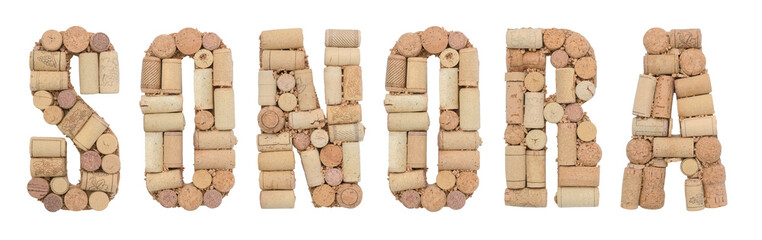 Wine region of Mexico Sonora made of wine corks Isolated on white background
