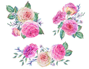 Watercolor set of vintage summer roses