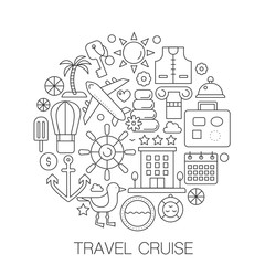 Travel cruise in circle - concept line illustration for cover, emblem, badge. Travel cruise vacation travel thin line stroke icons set.