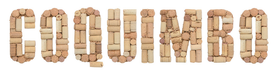 Wine region of Chile Coquimbo made of wine corks Isolated on white background