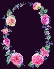 Nature watercolor wreath with roses