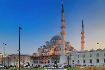 ISTANBUL, TURKEY - MARCH 24, 2012: New mosque with evening illumination.