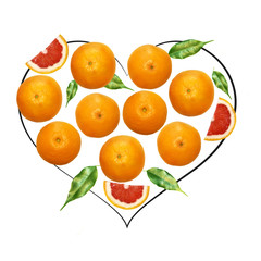 Fruit composition with fresh grapefruit and cartoon cute doodle drawing heart shape on white background. Creative minimalistic food concept.
