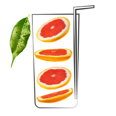 Fruit composition with fresh grapefruit and cartoon cute doodle drawing glass with straw on white background. Creative minimalistic food concept.