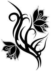 Flower tribal black tattoo
