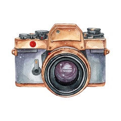Vintage retro watercolor camera. Perfect for photography logo