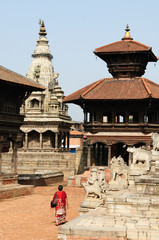 View of the old district of the Bhaktapur city in Nepal