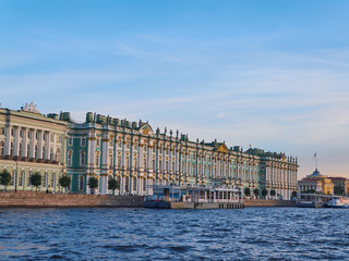 View from Neva River of the Winter Palace at sunset. Saint Petersburg, Russia