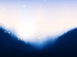 Mountain peaks illustration, Golden glowing lights effects. Graphic concept for your design