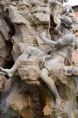 Poster Fontaine Fontaine des quatre rivières (fontana dei quattro fuimi), Piazza Navona, Rome