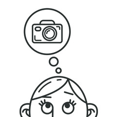 black and white line art cartoon illustration of the thought of the camera