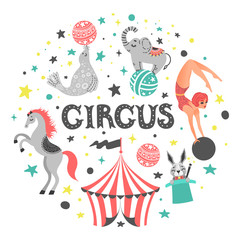 Vector illustration of circus animal. Cute cartoon characters. Isolated on white