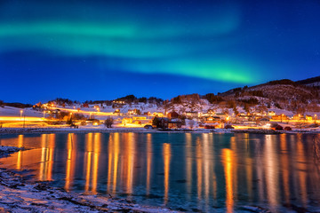 Northern lights, Aurora borealis in night sky over Gausvik, Lofoten Islands, Norway. Scenic winter landscape