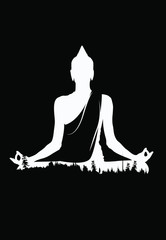 Buddha vector, White buddha on black background, Buddha and nature, meditation background - illustration