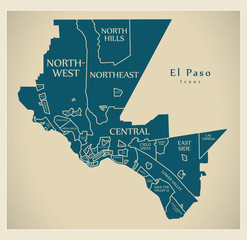 Modern City Map - El Paso Texas city of the USA with neighborhoods and titles