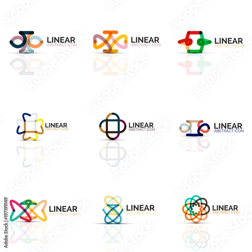 Set Of Abstract Flower Or Star Minimalistic Linear Icons Thin Line Geometric Flat Symbols For