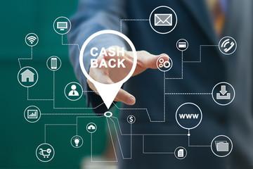 Businessman pushing button cash back on virtual electronic user interface.