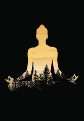 Buddha background vector, Buddha and nature, meditation background - illustration