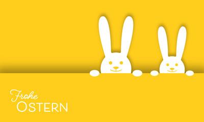 """Grußkarte """"Frohe Ostern"""" - Osterhasen in Gelb"""