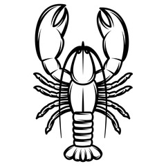 vector monochrome illustration with lobster for design