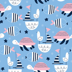 seamless sailing ships turtle seagull pattern vector illustration