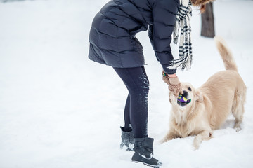 Photo of girl playing with labrador in snowy park